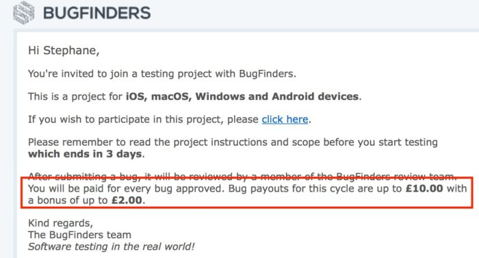 BugFinder email